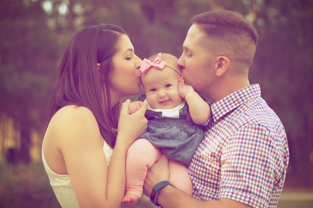 picture of family kissing the child symbolising relationship