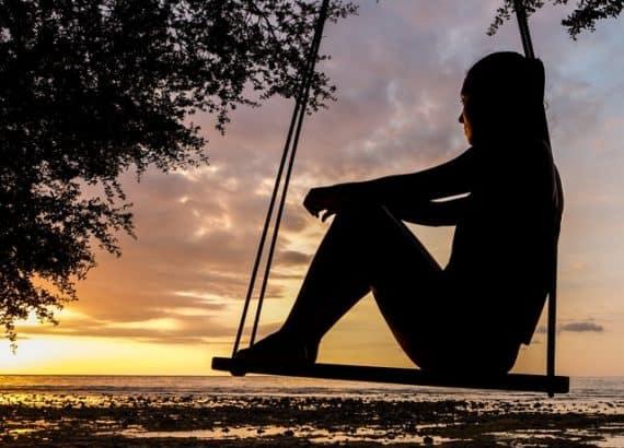 sunset man in the beach